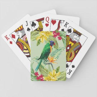 Exotiska blommor och papegoja spelkort
