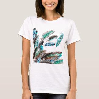 Exotiska samlingsblått för fjädrar t shirts