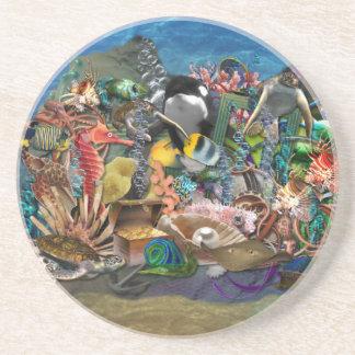 Exotiskt tropiskt fiskakvarium underlägg sandsten