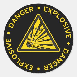 Explosiv varningsklistermärke runt klistermärke