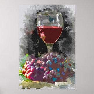 Exponeringsglas av vin och en Mound av druvor i Poster