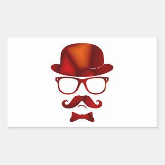 Exponeringsglas för moustache för Hipster1b derby Rektangulärt Klistermärke