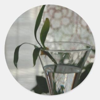 Exponeringsglas och växt runt klistermärke