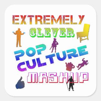 Extremt klyftig popkultur Mashup Fyrkantigt Klistermärke