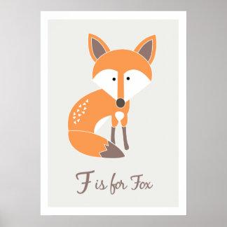 F är för räven - tryck för alfabetvänkonst