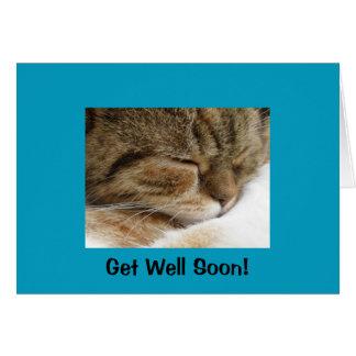 Få det väl snart kattkortet hälsningskort