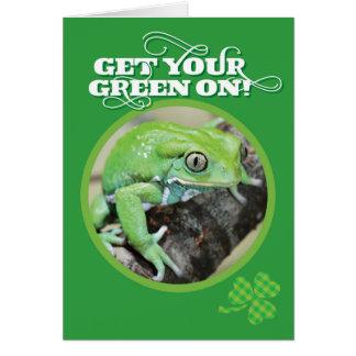 Få din grönt på St.-liten pastej grodan för dag Hälsningskort