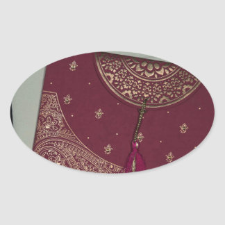 Få märkes- hinduisk Bröllopskort Ovalt Klistermärke