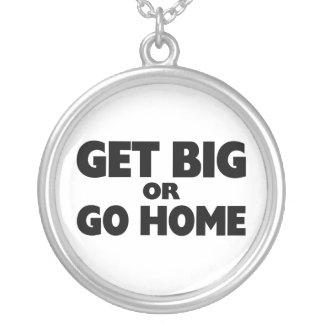 Få stor eller gå hem silverpläterat halsband