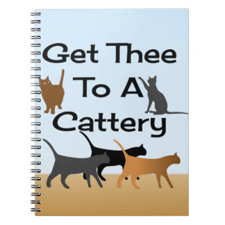 Få Thee till en Catteryanteckningsbok Anteckningsbok Med Spiral