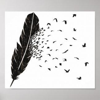 Få utbrott för fåglar av en fjäder poster