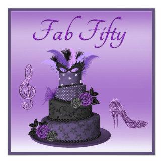 Fab femtio purpurfärgad Divatårta, Fyrkantigt 13,3 Cm Inbjudningskort