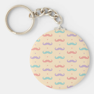 Fab pastellfärgad populär gåva för mustaschMoustac Rund Nyckelring