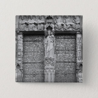 Facade av Notre Dame, vänster portal, Paris Standard Kanpp Fyrkantig 5.1 Cm