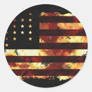 Facklig flagga, inbördeskrig, stars och stripes, runda klistermärken
