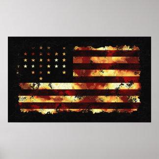 Facklig flagga, inbördeskrig, stars och stripes, U Poster