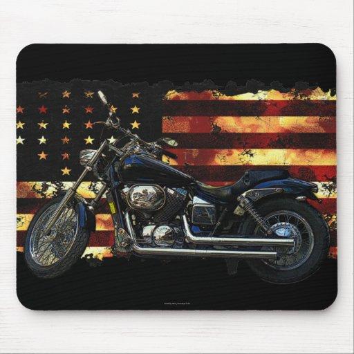 Facklig flagga, stars och stripes, motorcykel musmatta