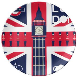 facklig jackflagga för vintage med london porslinstallrik