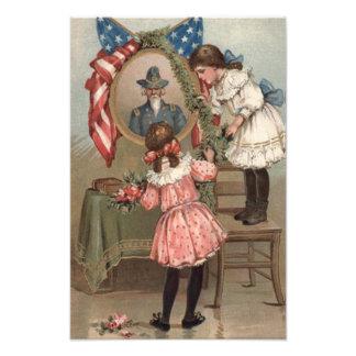 Fackliga minnes- barn för US-flaggainbördeskrig Fototryck