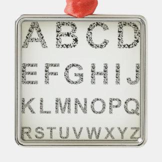 Fågel alfabetet julgransprydnad metall