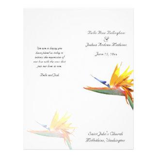 Fågel av paradisbröllopsprogrammet reklamblad