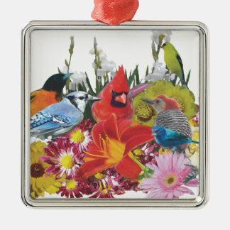 fågel-/blommamedley 4 julgransprydnad metall