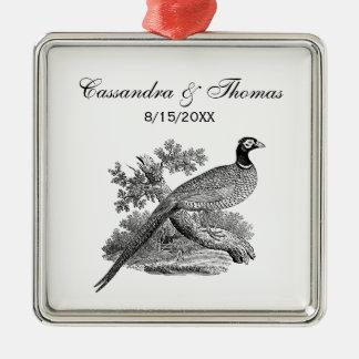 Fågel för vintagePheasantlek som drar BW Julgransprydnad Metall