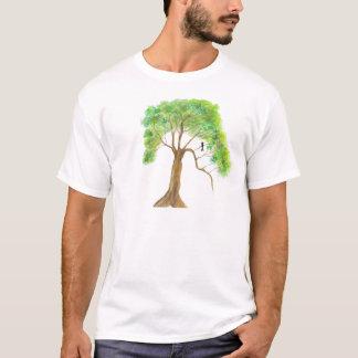 Fågel i grönt drömma för trädmålning av våren t shirts