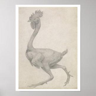 Fågel: Lateralen beskådar med mest fjädrar som tas Print
