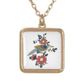 Fågel och blomma guldpläterat halsband