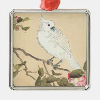 Fågel- och blommaalbum, kakadua och Camellia Julgransprydnad Metall