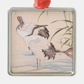 Fågel- och blommaalbum som vadar kranvintagekonst julgransprydnad metall