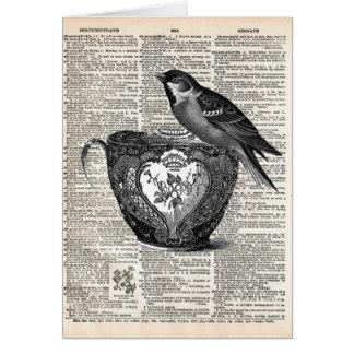 Fågel och teakopp hälsningskort
