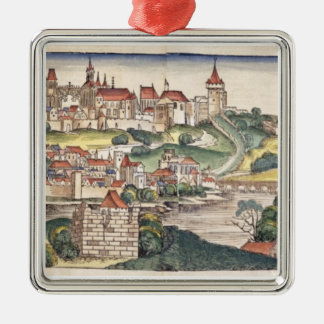 Fågel öga beskådar av Prague från Nuremberg Chron Julgransprydnad Metall