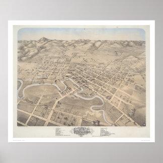 Fågel öga beskådar av staden av Petaluma (1298) Poster