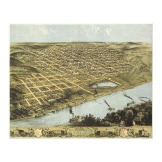 Fågel öga beskådar kartan av Omaha Nebraska (1868) Canvastryck