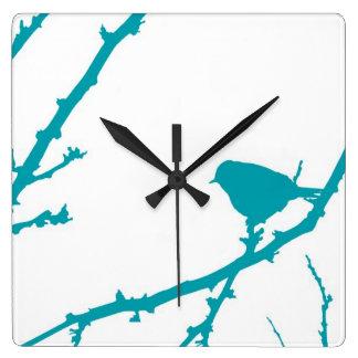 Fågel på en gren Silhouette_Turquoise Fyrkantig Klocka