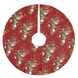 Fågel på järnekjulgrankjolen julgransmatta borstad polyester