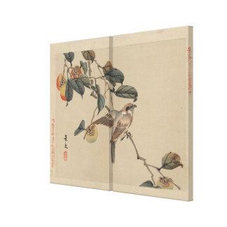 Fågel Perched på vintage för Persimmonträd Canvastryck