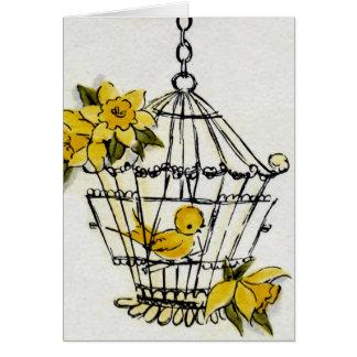 Fågelbur och blommor hälsningskort