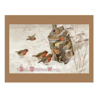 Fågelfyndskydd i lyktavintagejul vykort