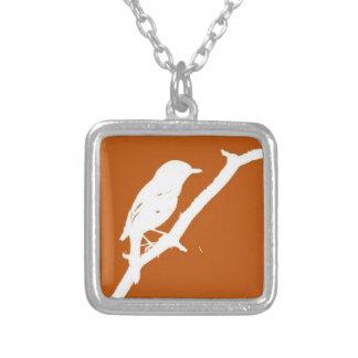 fågelhalsband silverpläterat halsband