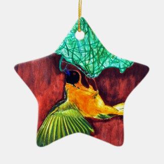 Fågelhandarbete bygga bo julgransprydnad keramik