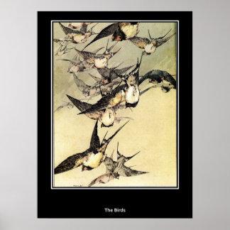 Fågeljapanvintage affisch