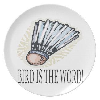 Fågeln är ord tallrik