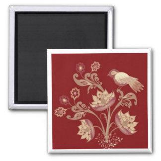 Fågeln och blommor på rött kvadrerar magneten magnet