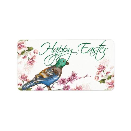 Fågeln på våren förgrena sig glad påsketiketter adressetikett