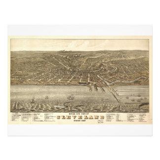 Fågelögat beskådar kartan av Cleveland Ohio (1877) Brevhuvud