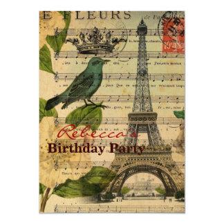 fågelParis Eiffel för botanisk konst franskt torn 11,4 X 15,9 Cm Inbjudningskort