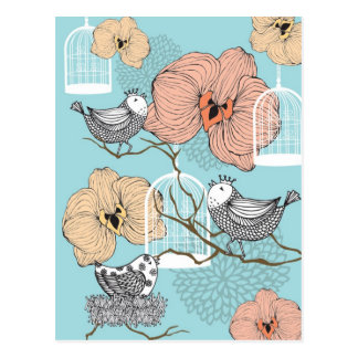 Fåglar & fågelburar för gullig nätt vintage blom- vykort